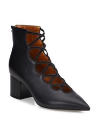 Valentino Mighty Crisscross Leather Block Heel Booties Black