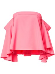 Milly Off Shoulders Flared Blouse Pink Purple
