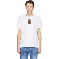 Dolce And Gabbana White Embroidered Crown Patch T Shirt