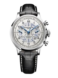 Baume And Mercier Capeland Stainless Steel And Alligator Automatic Chronograph Strap Watch Silver Black