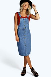 Boohoo A Line Button Through Denim Pinafore Blue