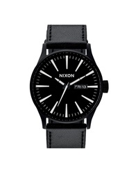 Nixon Sentry Black White Leather Watch