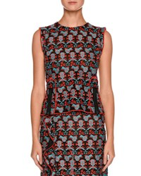 Emporio Armani Sleeveless Jacquard Top With Front Zip Multi Pattern
