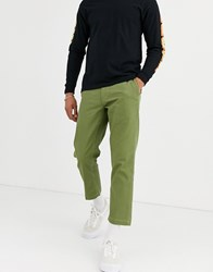 Obey Straggler Houndstooth Flooded Trouser In Khaki Green