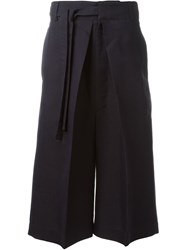 Alexander Mcqueen Cropped Wide Leg Trousers Blue