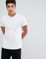 New Look T Shirt With Rolled Sleeves In White White