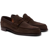 Cheaney Dover D Perforated Suede Penny Loafers Dark Brown