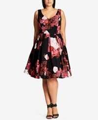 City Chic Trendy Plus Size Printed Fit And Flare Dress Medium Red