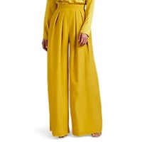 Martin Grant Pleated Silk Wide Leg Trousers Yellow