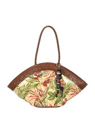 Patricia Nash Cuban Tropical Print Dome Leather Tote