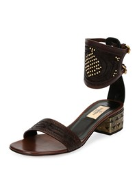 Valentino Studded Vachetta Ankle Cuff Sandal Cacao Black Cacao Nero Size 41.0B 11.0B