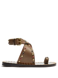 Isabel Marant Jools Embellished Leather Sandals Khaki