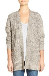Women's Madewell Marled Panel Stitch Open Front Cardigan