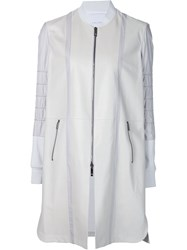 Callens Panelled Zip Coat White