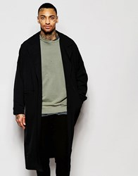 Asos Duster Coat With Magnet Fastening In Black Black