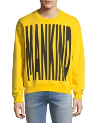 7 For All Mankind Men's Typographic Embroidered Sweatshirt Yellow