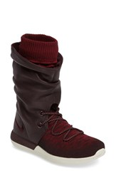 Nike Women's Roshe Two Flyknit Water Repellent Sneaker Boot Deep Burgundy Team Red