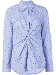 Derek Lam 10 Crosby Embroidered Knot Front Shirt Blue