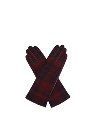 Sonia Rykiel Tartan Wool And Leather Gloves Brown