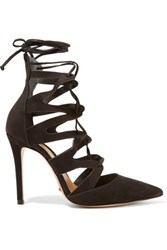 Schutz Niche Lace Up Suede Pumps Black