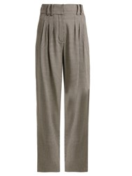 Balmain Prince Of Wales Checked Virgin Wool Trousers Grey Multi