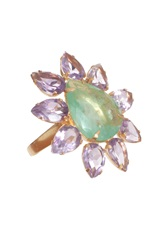Bounkit Green And Amethyst Cocktail Ring