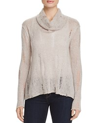 Three Dots Thea Cowl Neck Open Knit Sweater Ballet Pink