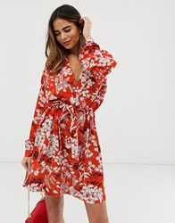 Liquorish Floral Wrap Front Mini Dress With Tie Belt Multi