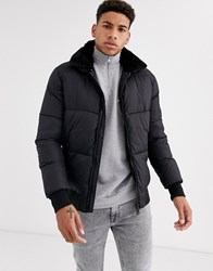 Schott Padded Bomber Jacket With Faux Fur Collar Black