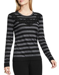 Vince Camuto Crewenck Floral Lace Applique Striped Sweater Grey Black