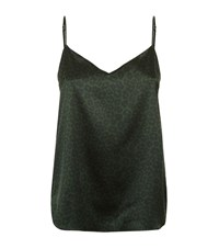 Stella Mccartney Lingerie Ellie Leaping Leopard Print Silk Camisole Female Green