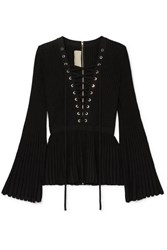 Elie Saab Lace Up Ribbed Knit Top Black