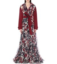 Yang Li Floral Print Silk Organza Trench Coat Red Navy
