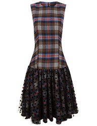 Paskal Tartan And Polka Dot Tulle Drop Waist Dress Navy