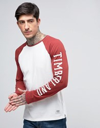 Timberland Long Sleeve Baseball Top Sleeve Logo Contrast In White Red Rosewood