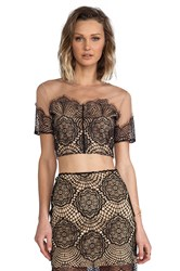 For Love And Lemons Antigua Crop Top Black