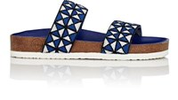 Tory Sport Women's Mosaic Elastic Double Band Sandals Navy White Navy White