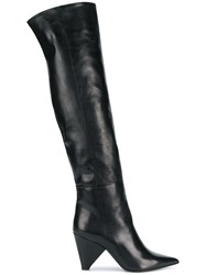 Aldo Castagna Pointed Over The Knee Boots Black