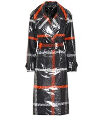 Marc Jacobs Plaid Coated Cotton Trench Coat Black