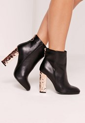 Missguided Crushed Rose Gold Heel Contrast Zip Boots Black