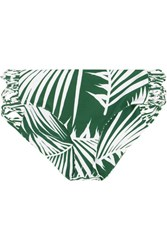 Mikoh Barcelona Cutout Printed Bikini Briefs Dark Green