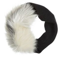 Lanvin Women's Fur And Knit Stole White Black Dark Grey White Black Dark Grey