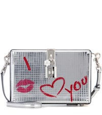 Dolce And Gabbana Metallic Leather Clutch Silver