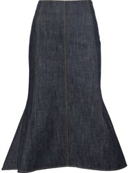 Derek Lam High Waisted Flared Skirt Blue