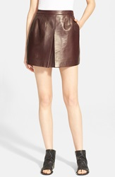 Vince Inverted Pleat Leather Skirt Shiraz