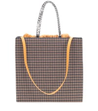 Victoria Beckham Checked Leather Trimmed Tote Multicoloured