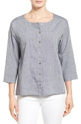 Women's Eileen Fisher Linen And Cotton Ballet Neck High Low Shirt