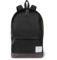 Thom Browne Suede Trimmed Nylon Backpack Black