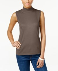 Karen Scott Sleeveless Mock Turtleneck Top Only At Macy's Chestnut