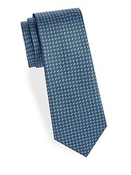 Saks Fifth Avenue Oval Print Silk Tie Yellow Blue